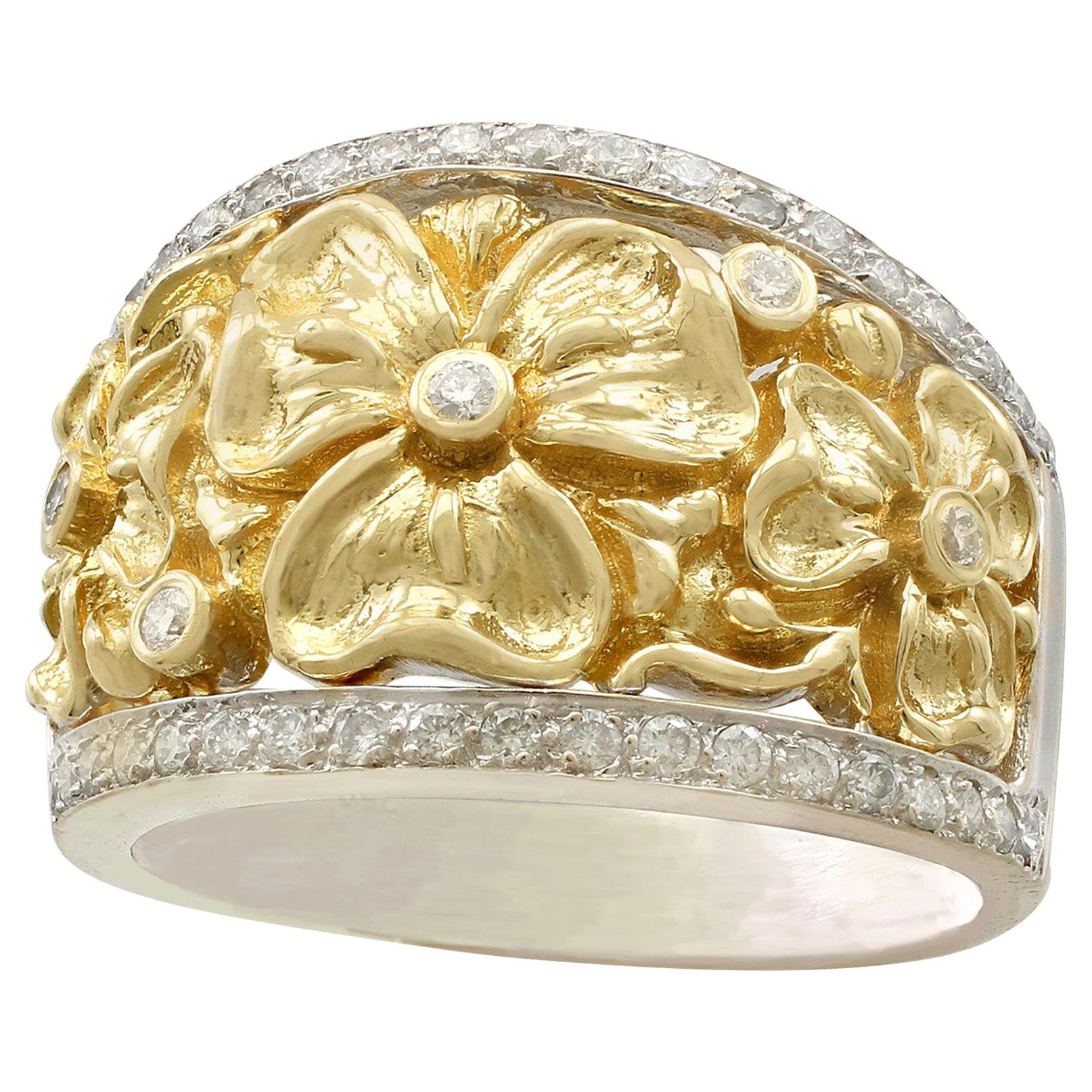 Diamond and Yellow Gold and White Gold Cocktail Ring