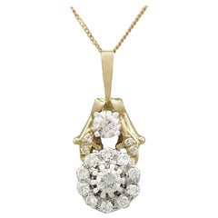 Diamond and Yellow Gold Cluster Pendant