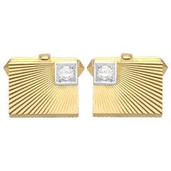Diamond and Yellow Gold Cufflinks, Vintage, circa 1960