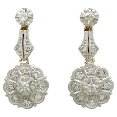 Diamond and Yellow Gold Drop Earrings, Antique French, circa 1920