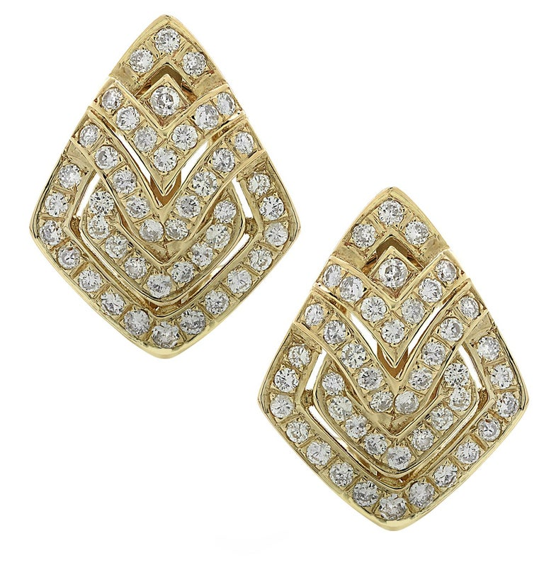 Diamond and Yellow Gold Earrings In Good Condition In Miami, FL