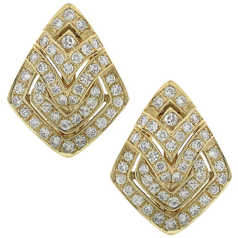 Diamond and Yellow Gold Earrings