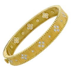 Diamond and Yellow Gold, Floral Motif, Textured Hinged Bangle Bracelet