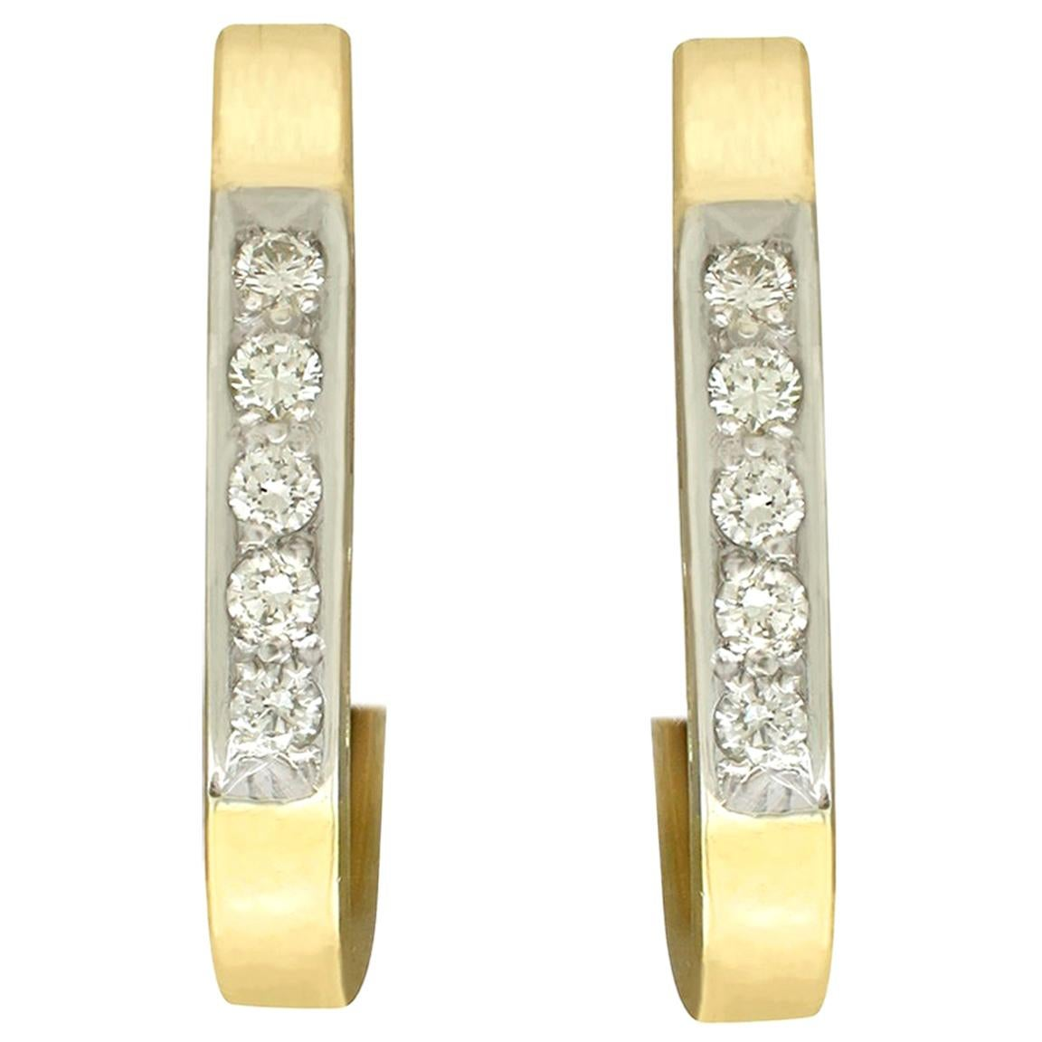 Diamond and Yellow Gold Hoop Earrings