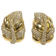 Diamond and Yellow Gold Large Impressive Leaf Form Earrings