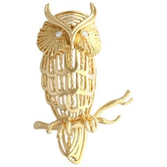 Diamond and Yellow Gold Owl Brooch Circa 1970