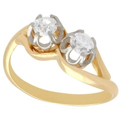 Diamond and Yellow Gold Platinum Set Twist Ring