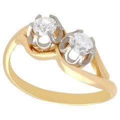 Diamond and Yellow Gold Platinum Set Twist Ring