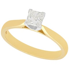 Diamond and Yellow Gold Solitaire Engagement Ring Circa 2000