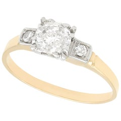 Diamond and Yellow Gold Solitaire Ring Vintage Circa 1940