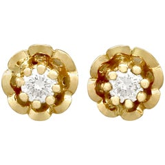Diamond and Yellow Gold Stud Earrings