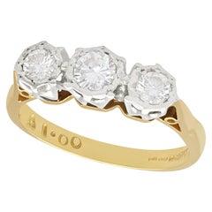 Diamond and Yellow Gold Trilogy Ring, Circa 1980