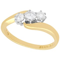 Diamond and Yellow Gold Trilogy Twist Ring