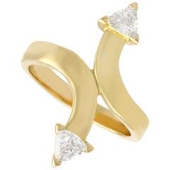 Diamond and Yellow Gold Twist Ring