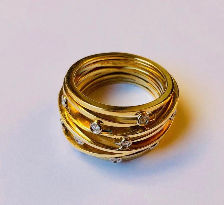 Contemporary Diamond and Yellow Gold Van der Veken Varens Ring For Sale