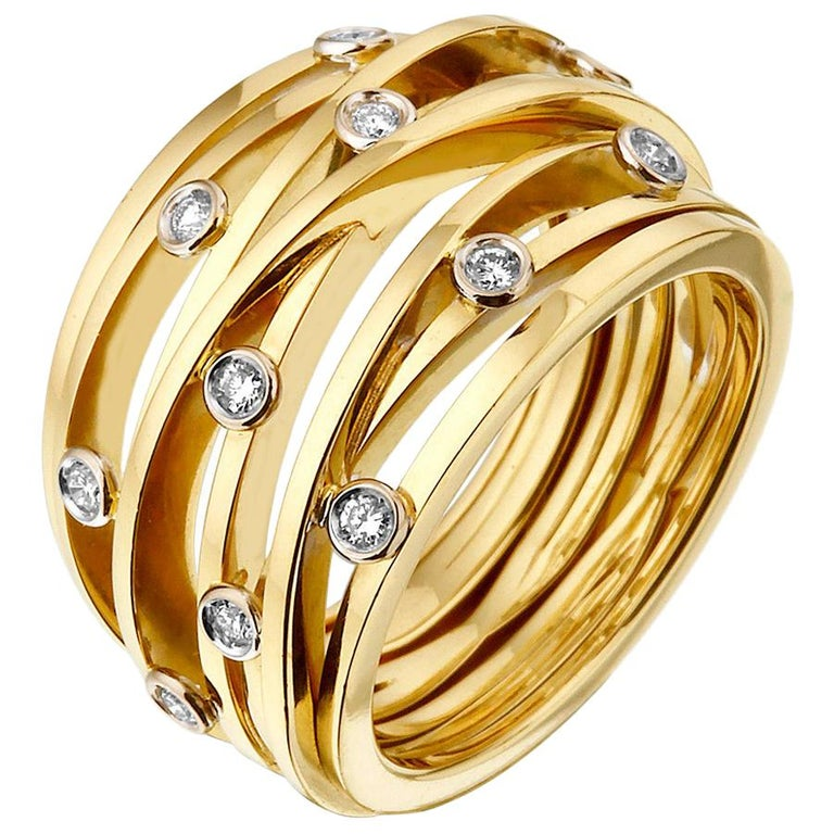 Diamond and Yellow Gold Van der Veken Varens Ring For Sale