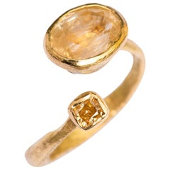 Diamond and Yellow Sapphire 18 Karat Gold Handmade Ring by Disa Allsopp