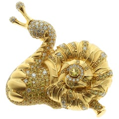 Diamond and Yellow Sapphire 18 Karat Yellow Gold Snail Brooch