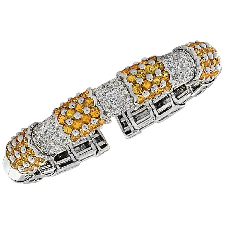 Diamond and Yellow Sapphire Bangle Bracelet