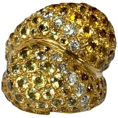 Diamond and Yellow Sapphire Crossover Ring by Sabbadini Milano