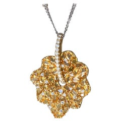 Diamond and Yellow Sapphire Pendant Necklace
