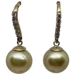 Diamond and Yellow South Sea Pearl Dangle Earrings in 14 Karat Gold 0.30 Carat