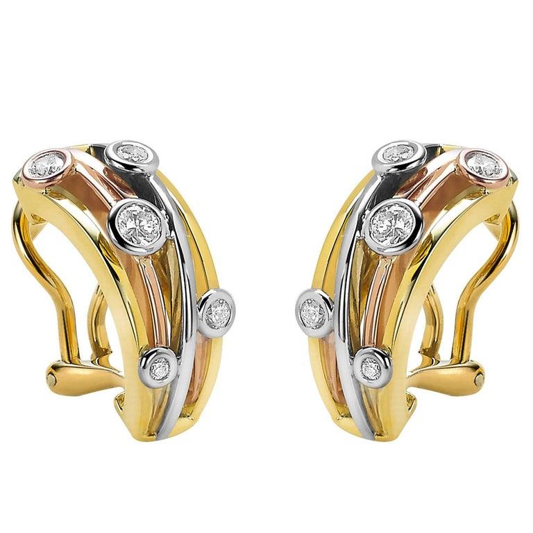 Diamond and Yellow, White and Rose Gold Van der Veken Varens Earrings For Sale