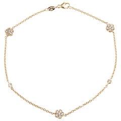 Diamond Anklet 18 Karat Yellow Gold Estate Fine Jewelry Ankle Bracelet Flower