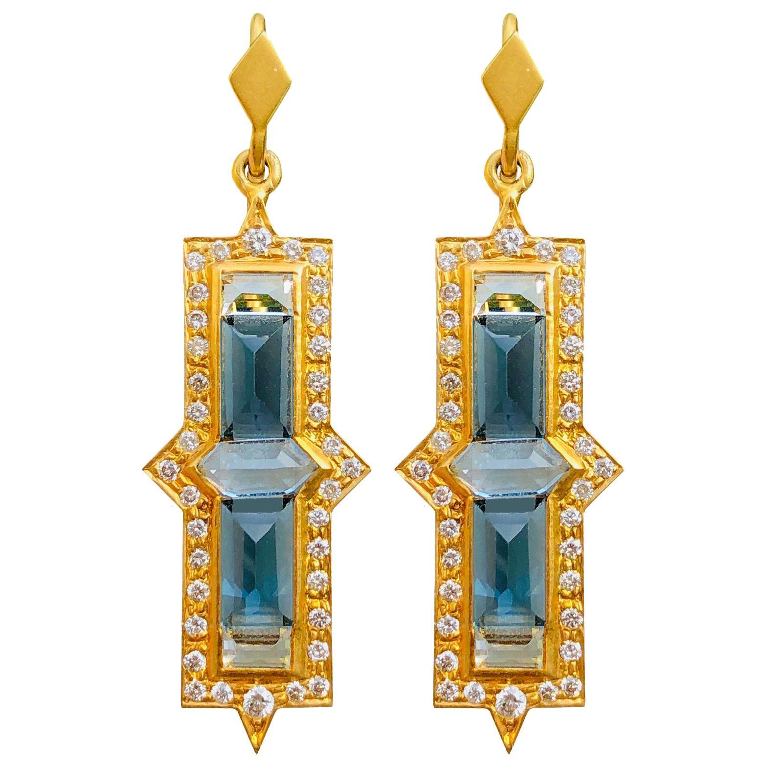 Diamond Aquamarine 18 Karat Gold Earrings by Lauren Harper