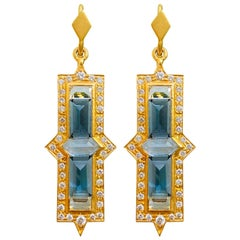 Diamond Aquamarine 18 Karat Gold Earrings by Lauren Harper