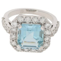 Diamond Aquamarine Cluster Engagement Ring