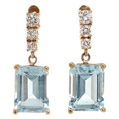 Diamond Aquamarine Earrings 14 Karat Yellow Gold 2.98 Carat Certified