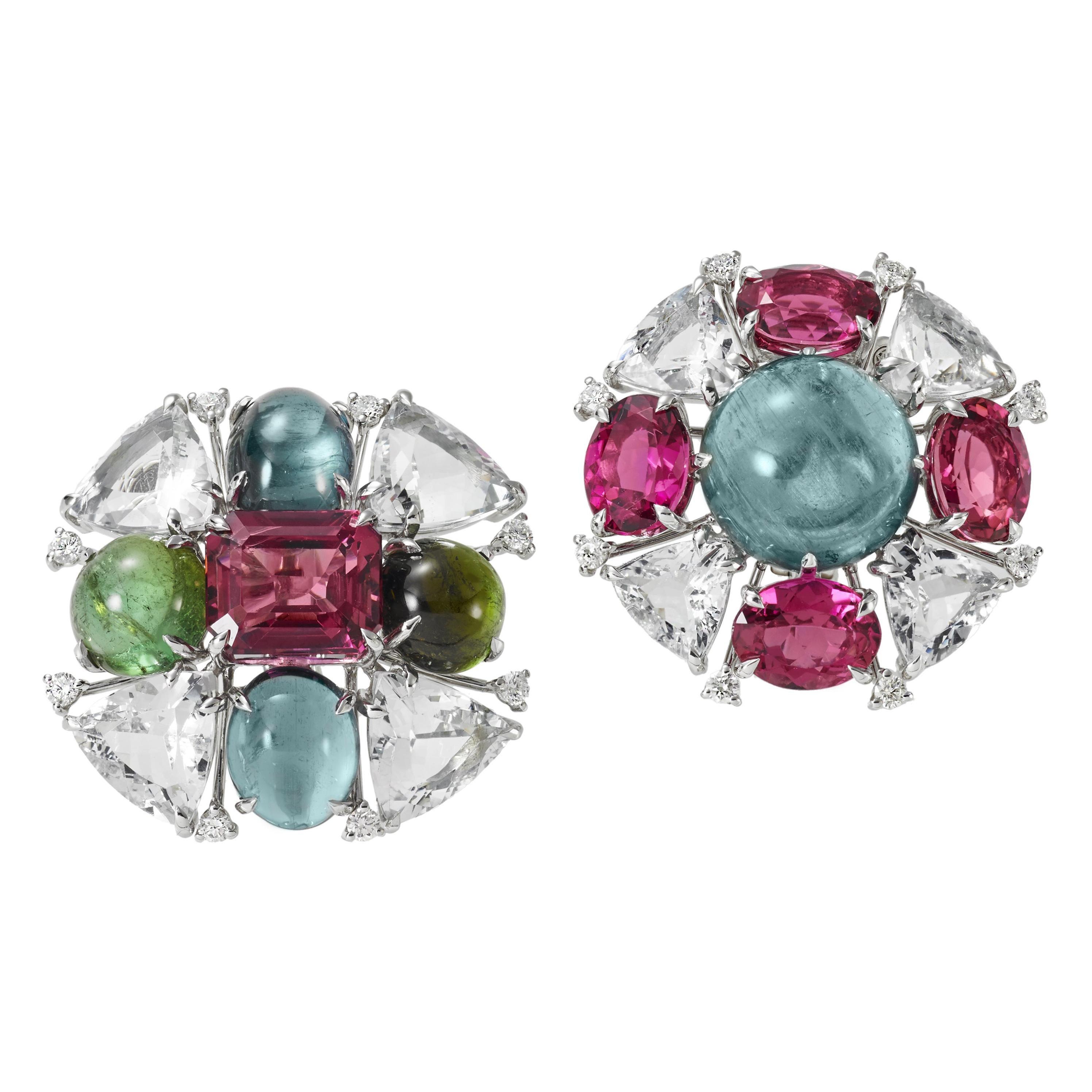 Diamond Aquamarine Pink Green Tourmalines  18 KT White Gold Mismatching Earrings
