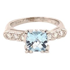 Diamond Aquamarine Ring 14k White Gold 1.70 TCW Women Certified