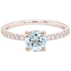 Diamond Aquamarine Ring 18k White Gold 1.08 TCW Certified