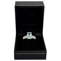 Diamond Aquamarine Ring 3.30TCW 14k Gold Women Certified