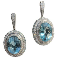 Diamond Aquamarine Topaz White Gold 18 Karat Solitaire Earrings