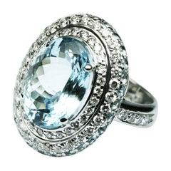Diamond Aquamarine Topaz White Gold 18 Karat Solitaire Ring