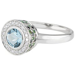 Diamond Aquamarine, Tsavorite and Black Diamond Ring