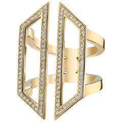 Diamond Armor Ring 18 Karat Yellow Gold