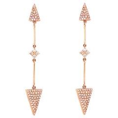 Diamond Arrow Earring Dangles in 14 Karat Gold Pave Diamond Point Drop Earrings