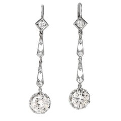Diamond Art Deco 18 Karat White Gold Dangle Drop Earrings