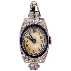 Diamond Art Deco Platinum Cocktail Watch Ring Fine Estate Jewelry, circa 1920s