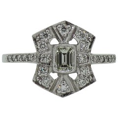Diamond Art Deco Style Cluster Ring 18 Karat White Gold