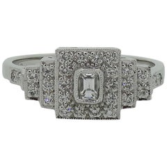 Diamond Art Deco Style Cluster Ring 18 Karat White Gold