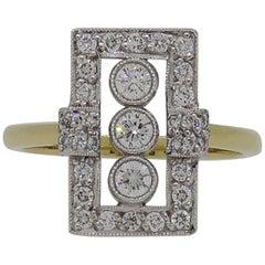 Diamond Art Deco Style Cluster Ring 18 Karat Yellow and White Gold