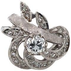 Diamond Art Nouveau Style White Gold Ring