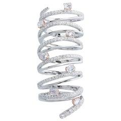 Diamond Articulated Ring, 18 Karat White Gold
