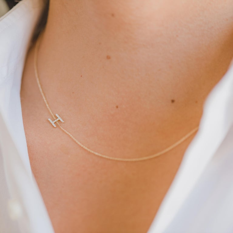 Round Cut Diamond Asymmetrical Initial Necklace, A For Sale
