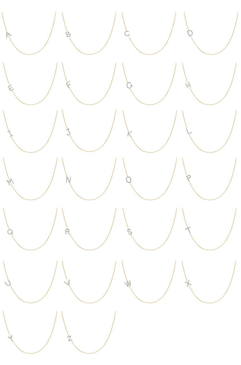 Diamond Asymmetrical Initial Necklace, A For Sale 3